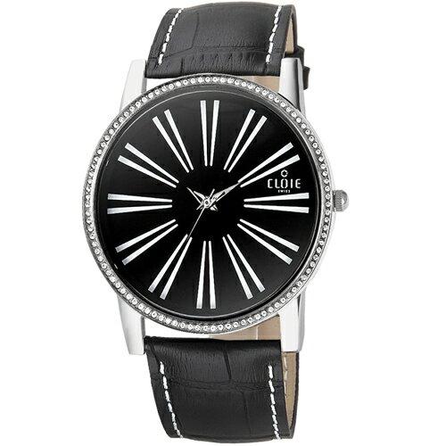 CLOIE 簡約魅力晶鑽時尚腕錶-黑/39mm CL10035-CM03