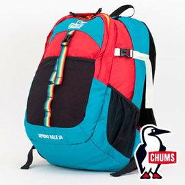 日本 CHUMS SD登山背包25L T010 藍綠/紅(附腰包) 登山 健行 旅遊