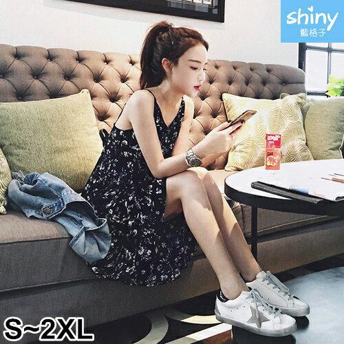 【V2316】shiny藍格子-清甜春華.碎花V領細肩無袖連身裙