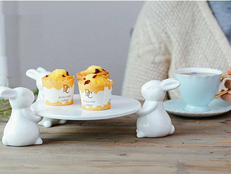 【極簡時尚】可愛兔子甜品陶瓷水果盤創意下午茶點心盤蛋糕托盤