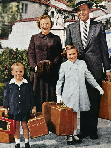 Samsonite Ad 1956 Nan American Family Ready For Travel In An Advertisement For Samsonite Luggage And Greyhound Bus Travel 1956 Rolled Canvas Art - (24 x 36)