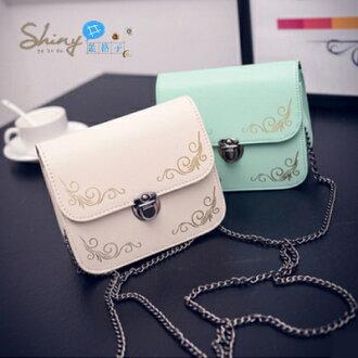 P024】shiny藍格子-輕巧可愛‧韓版新款夏款新品鏈條包迷你小方包單肩斜挎包