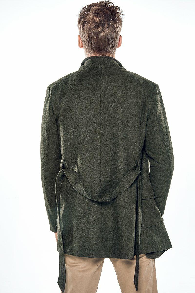 FINDSENSE Z1 韓國 時尚 潮 男 翻領 中長款 雙排扣 綁帶收腰設計 風衣 大衣 休閒款西裝外套