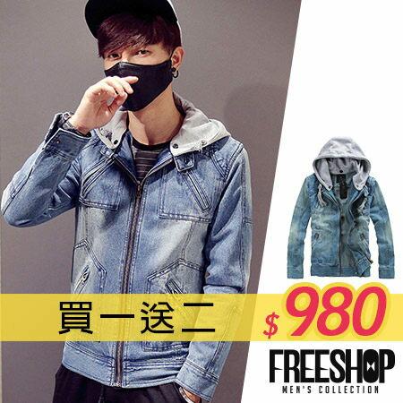 《全店399免運》Free Shop【QTJD13】買一送二(圍巾+上衣) 層次感連帽可拆水洗刷色連帽丹寧外套‧藍色 有大尺碼