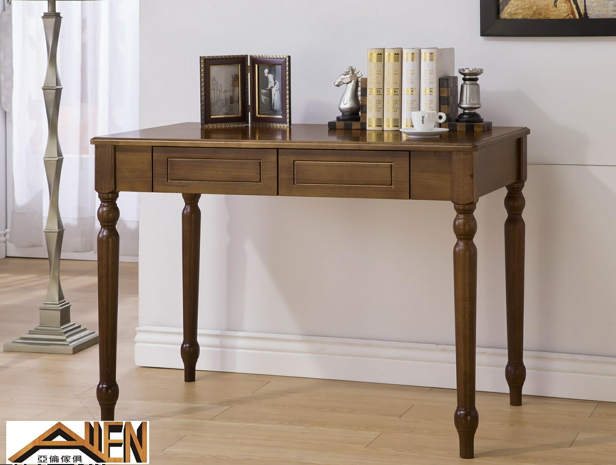 亞倫傢俱*莉莎紐松全實木100公分書桌(胡桃色)