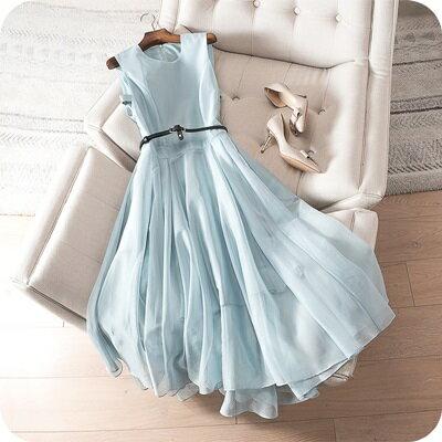 連身裙無袖連衣裙-純色優雅網紗拼接女上衣2色73sz4【獨家進口】【米蘭精品】