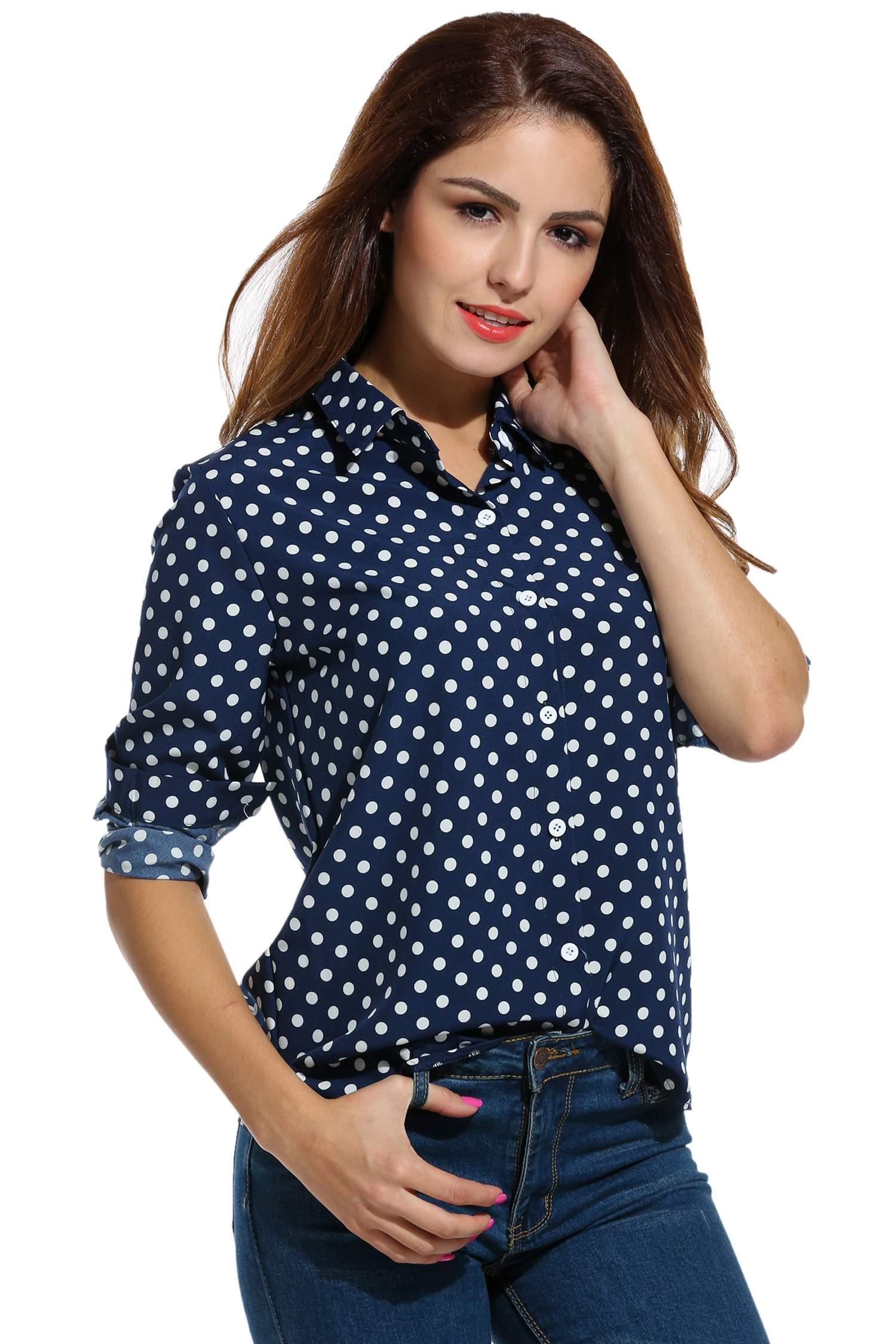 Women Long Sleeve Polka Dot Casual Loose Button Down Shirt 0