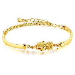 《 QBOX 》FASHION 飾品【B100N492】 精緻女款招財貔貅鍍黃K金手鍊/手環
