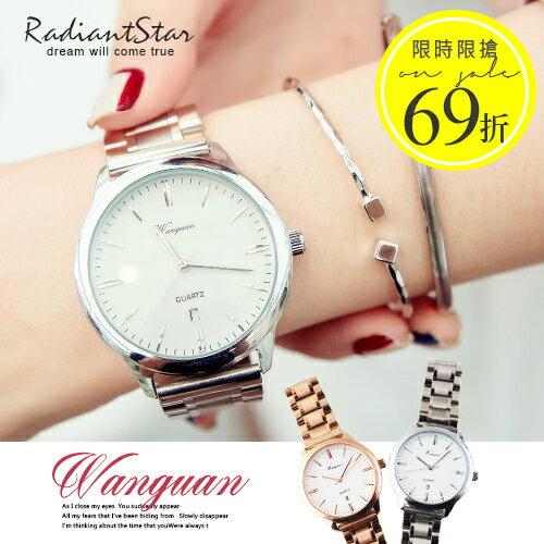 韓國純萃覺醒假三眼鋼帶手錶
