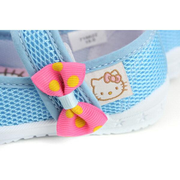 Hello Kitty 凱蒂貓 娃娃鞋 網布 水藍 中童 童鞋 718622 no759 2