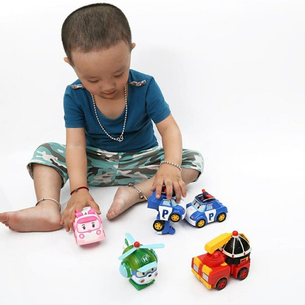 兒童波利警車機器人羅伊消防變形車星珀利警長救援隊套裝玩具男孩 3