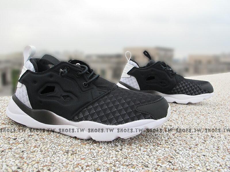 Shoestw【V62121】Reebok Furylite SR 黑白 漸層 熊貓 菱格 襪套 女鞋
