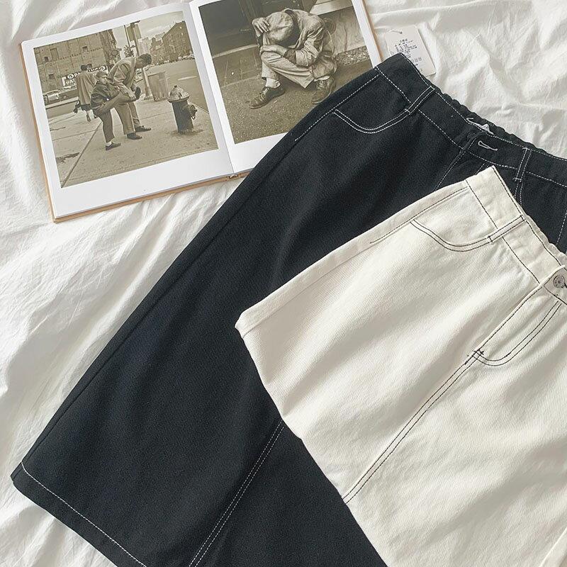 學生牛仔半身裙2020秋季新款女裝韓版減齡小清新純色長款a字下裝