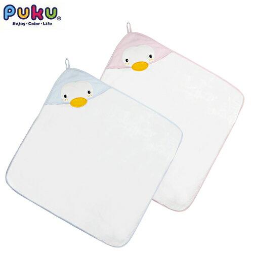 【奇買親子購物網】PUKU藍色企鵝造型連帽紗布浴巾(水色粉色)