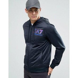 美國百分百【全新真品】Emporio Armani 外套 連帽 夾克 EA7 尼龍 運動 深藍 XS S號 H799
