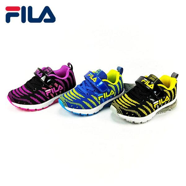 FILA兒童配色編織半氣墊兒童慢跑鞋.運動鞋紫.黃.藍16-22號
