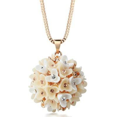 鑲鑽項鍊 毛衣鍊-優雅氣質花朵球女飾品73fv6【獨家進口】【米蘭精品】