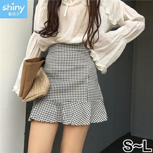 【V2312】shiny藍格子-夏日香氣.黑白格子高腰包臀A字短裙