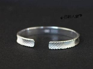 開口可調大小 簡約條紋 銀手鐲 銀手鐲 做工精致