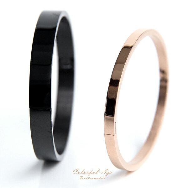 手鍊 全素面鋼製亮面手環【NA413】柒彩年代