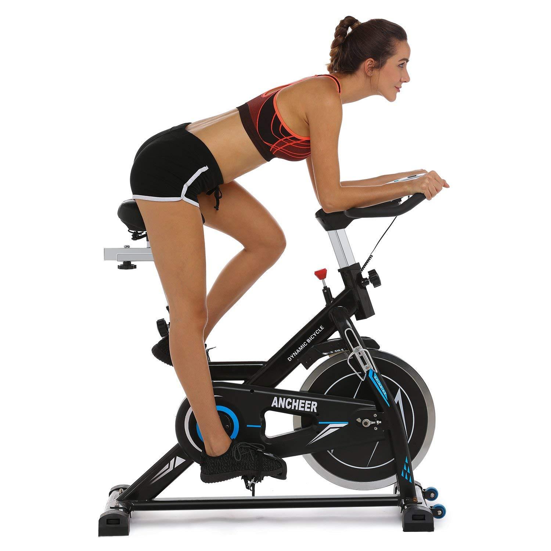 ANCHEER Indoor Cycling Bike Belt Drive Indoor Exercise Bike 49 LBS Flywheels US