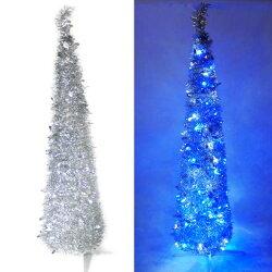 『心可樂活』6尺/6呎(180cm) 彈簧摺疊銀色哈利葉瘦型鉛筆樹聖誕樹 (+LED100燈藍白光一串)(本島免運費)