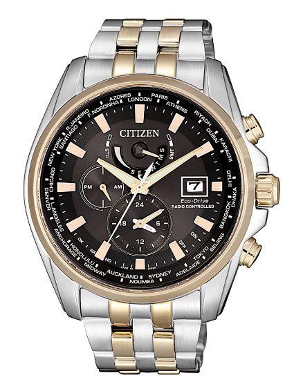 清水鐘錶 CITIZEN 星辰 Eco-Drive 競速賽車電波計時腕錶 玫瑰金 AT9038-53E 44mm