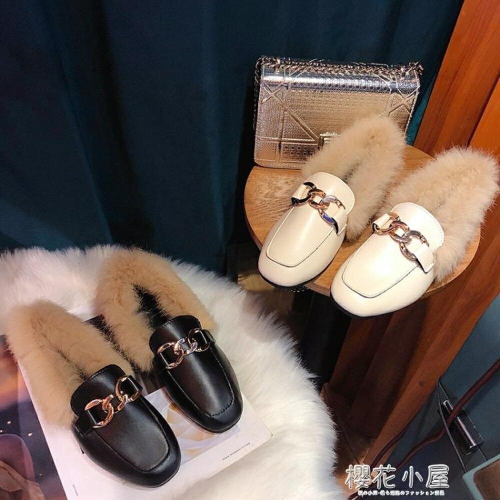 毛毛鞋女2019秋冬新款外穿時尚懶人鞋社會包頭平底單鞋加絨棉瓢鞋林之舍家居
