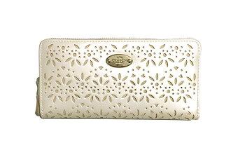 Coach新款 女士時尚珠光皮鏤空長款拉鏈錢包光滑錢包
