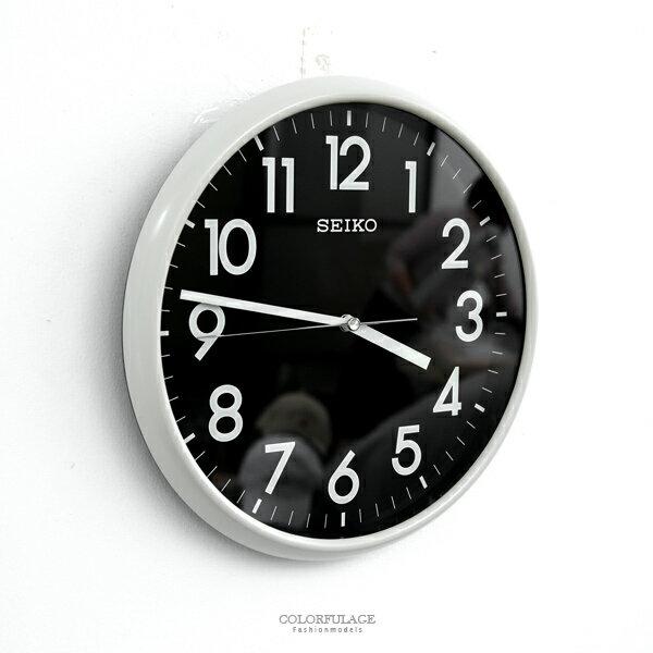 時鐘SEIKO黑面板白框圓掛鐘柒彩年代【NG44】原廠公司貨