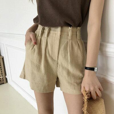 韓系日系女裝設計感高腰褶皺口袋休閒直筒短褲樂天時尚館。預購