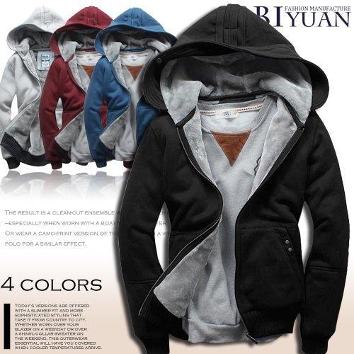 連帽外套【T10156】韓國雜誌款內裡全絨毛俐落窄版剪裁防寒外套共4色