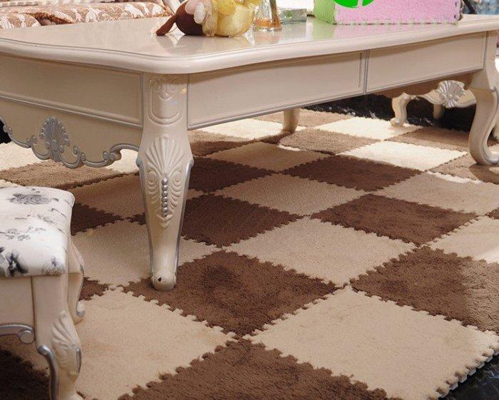 30*30CM 可裁剪摩登時尚短毛DIY創意拼接地毯/ 爬行墊