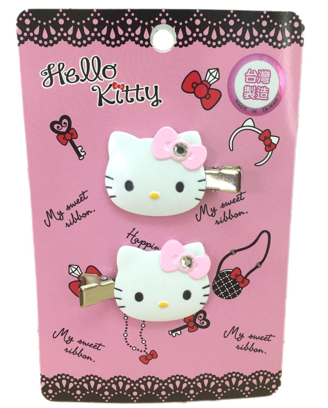 【真愛日本】16080300017髮前夾-KT大頭鑲鑽粉結三麗鷗 Hello Kitty 凱蒂貓 髮飾 飾品 正品