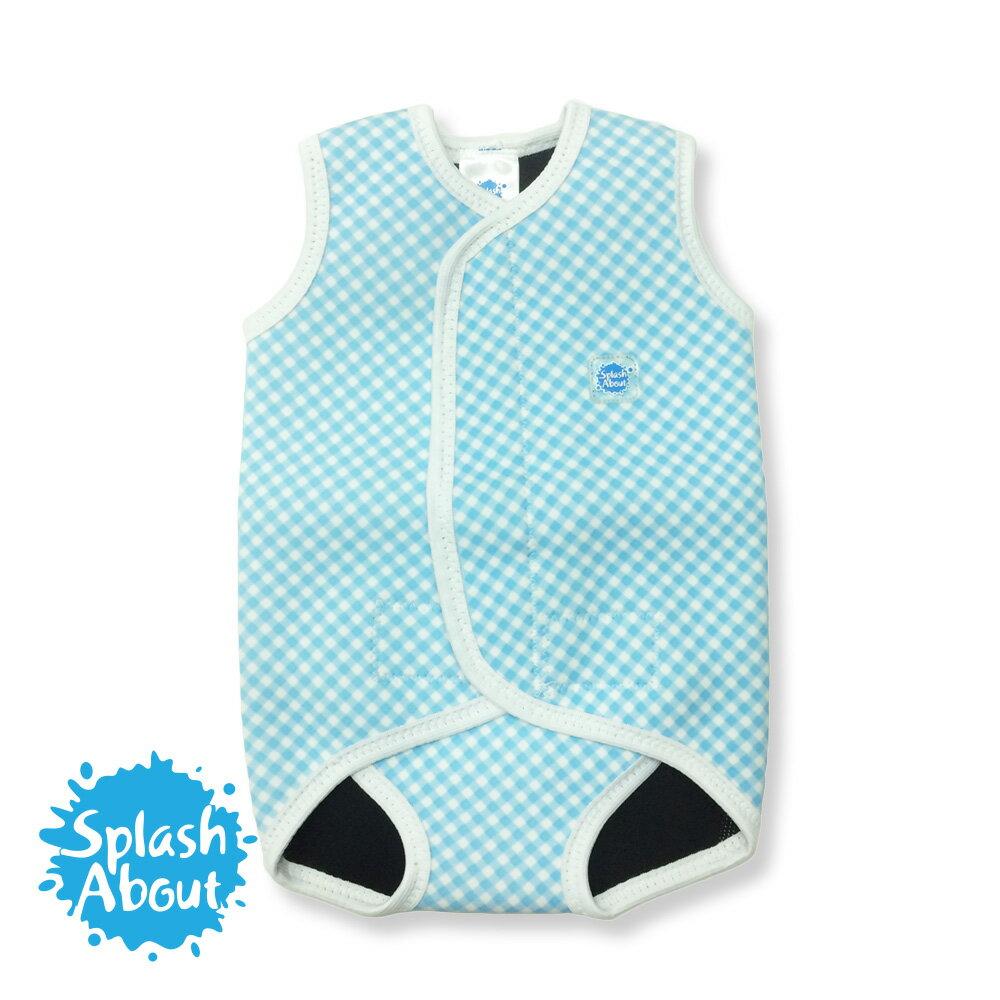 2017公益商品《Splash About 潑寶》BabyWrap 包裹式保暖泳衣 - 粉藍格紋