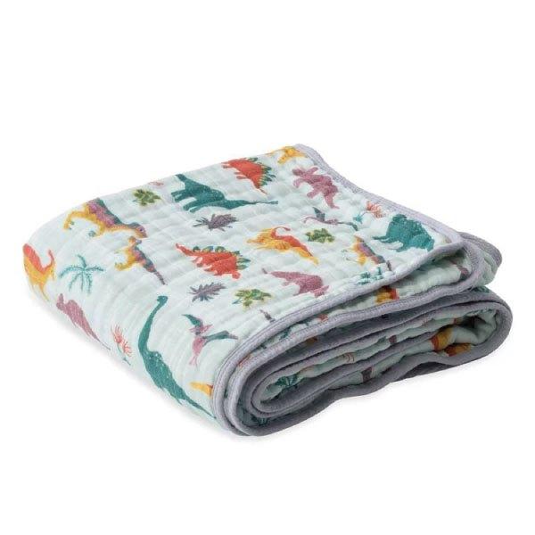 美國【LittleUnicorn】純棉四層紗布毯冷氣毯毯子-童話恐龍(精美禮盒裝)