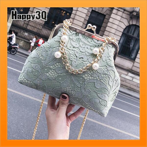 口金包鍊條包蕾絲包秀氣古典女包復古風民國風包包-綠黑粉【AAA4591】