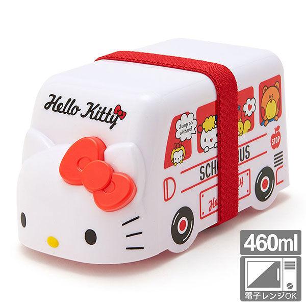 KITTY雙層便當盒保鮮盒460ml可微波凱蒂貓校車造型白619162海渡