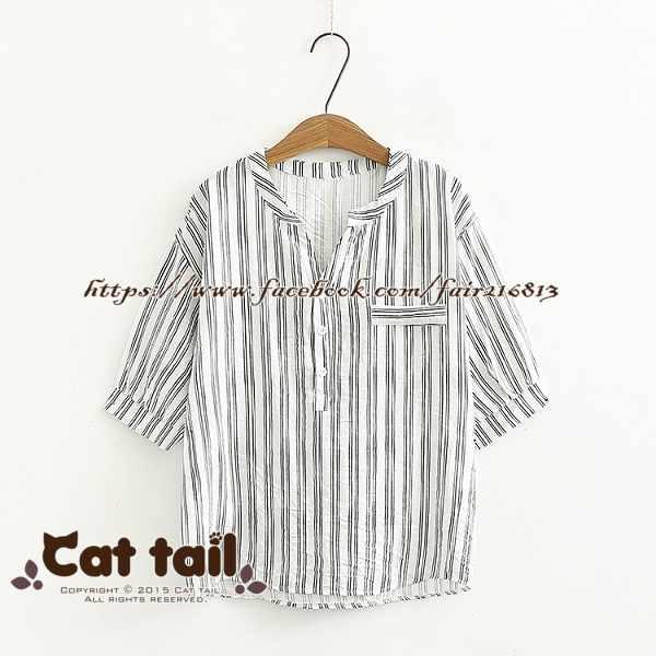 《貓尾巴》TS-0847日系豎條紋立領短袖襯衫(森林系日系棉麻文青清新)