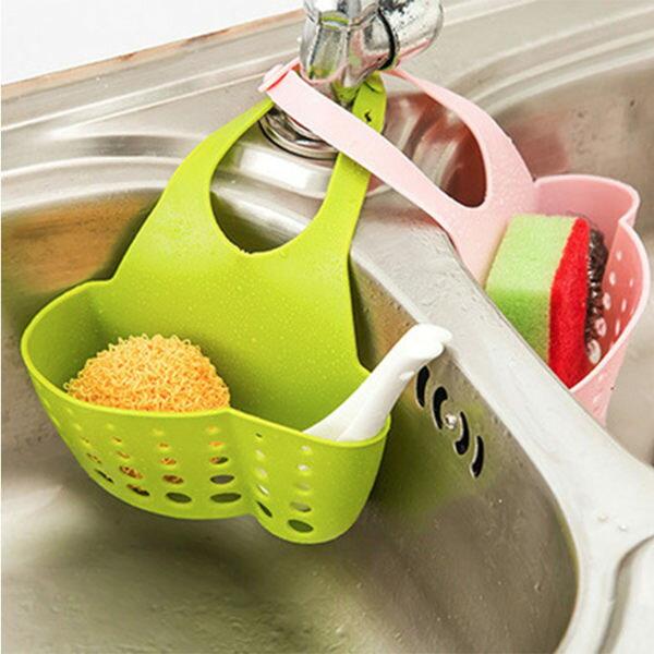 庫奇小舖:可調節按扣式廚房水龍頭收納掛籃水槽掛袋【庫奇小舖】