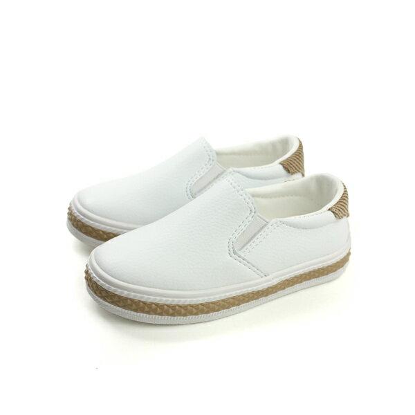 HUMAN PEACE:FEYAO懶人鞋休閒鞋皮質童鞋白色中童B1503no098