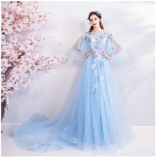 天使嫁衣【AE1268】淺藍色網紗披肩剌繡貼花長托尾晚禮服˙預購訂製款