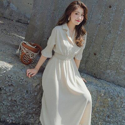 韓系女裝西裝領收腰雪紡中長裙連身裙洋裝樂天時尚館。預購