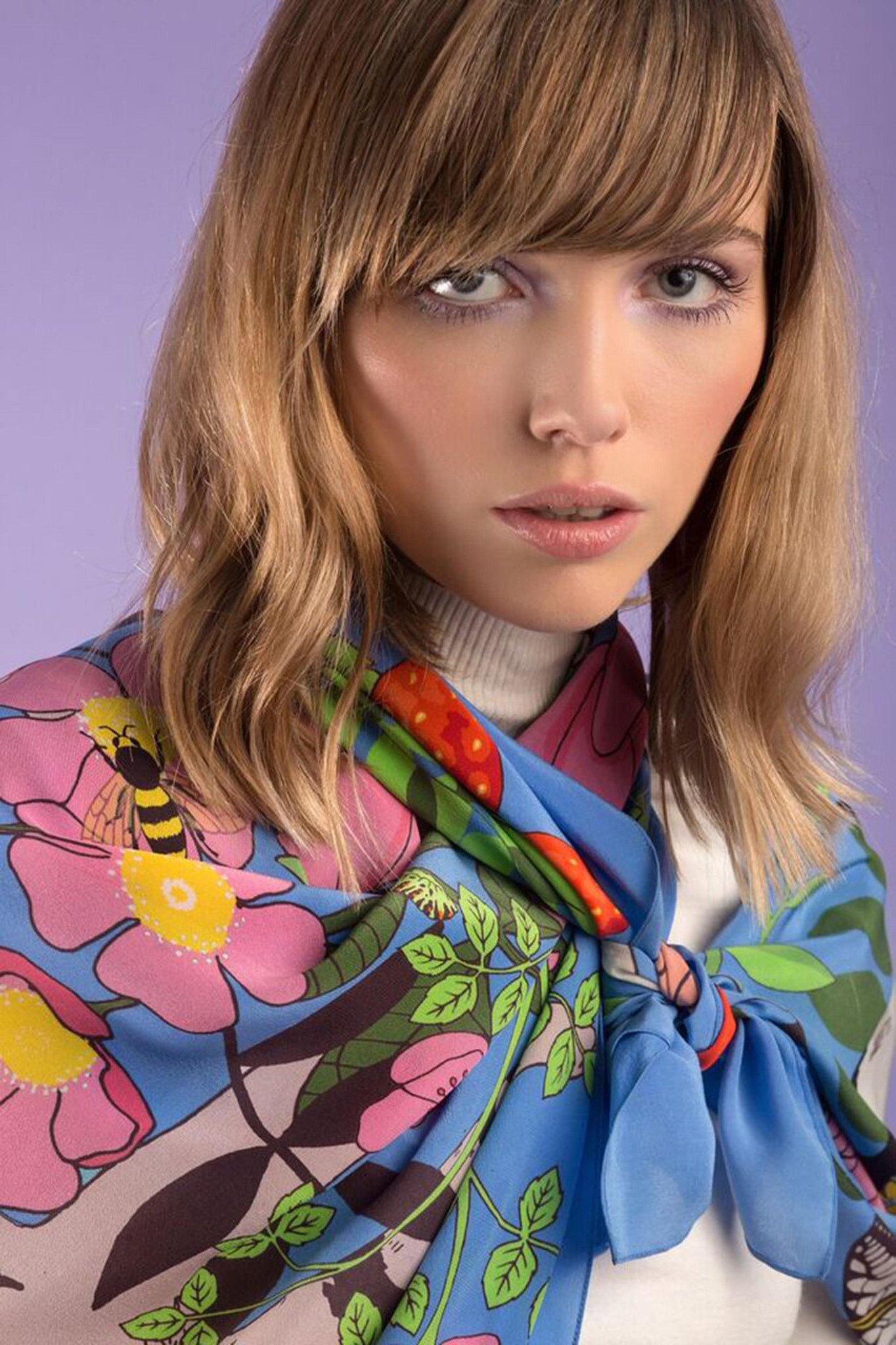 【Grace Boutique】100% silk 英國品牌 Karen Mabon 絲質披肩 義大利製
