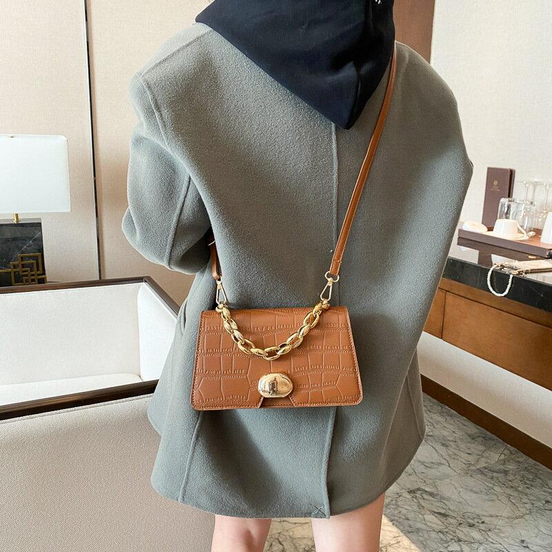 女包復古洋氣簡約鏈條包包2020冬季新款潮小方包ins單肩包斜挎包