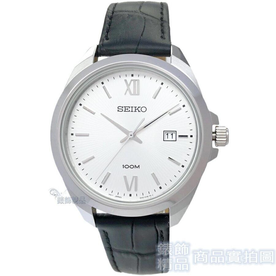 SEIKO手錶 精工表 SUR283P1 日期 黑色皮帶男錶 全新原廠正品【錶飾精品】