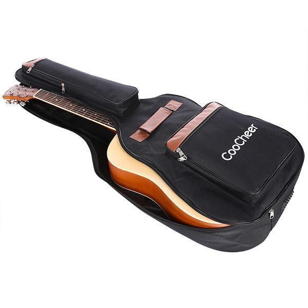 600D Oxford Acoustic Guitar Bag 5-Pocket Padded Gig Bag with Guitar Strap and 12 Pick Samplers 3