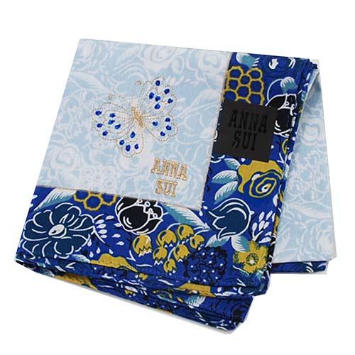 ANNA SUI 繽紛花朵字母蝴蝶圖騰金色刺繡LOGO帕領巾(藍色系)