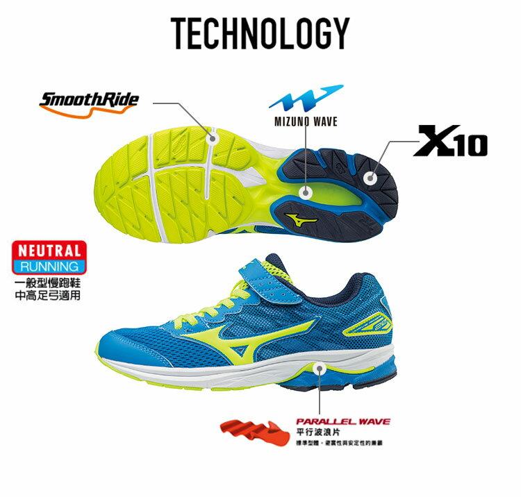 K1GC173144(藍X螢光綠)WAVE RIDER 20 Jr.V 黏貼帶式童鞋 A【美津濃MIZUNO】【品牌盛典   滿2000元結帳輸入序號『SUPERBRAND』再9折】 2