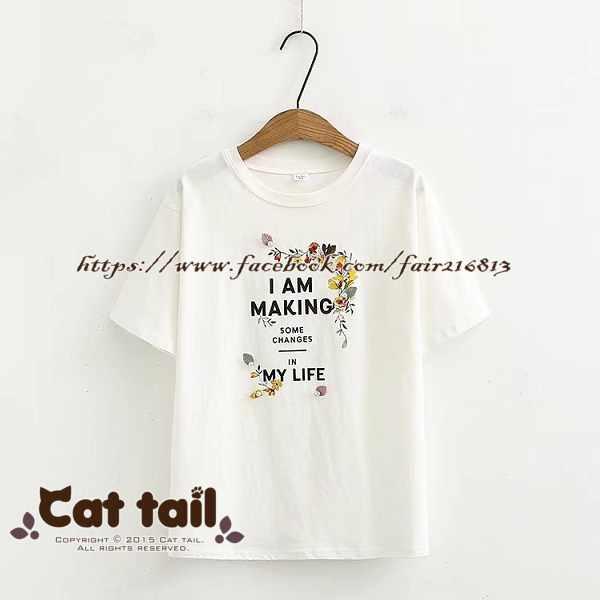 《貓尾巴》TS-0706學院風立體花朵短袖T恤(森林系日系棉麻文青清新)